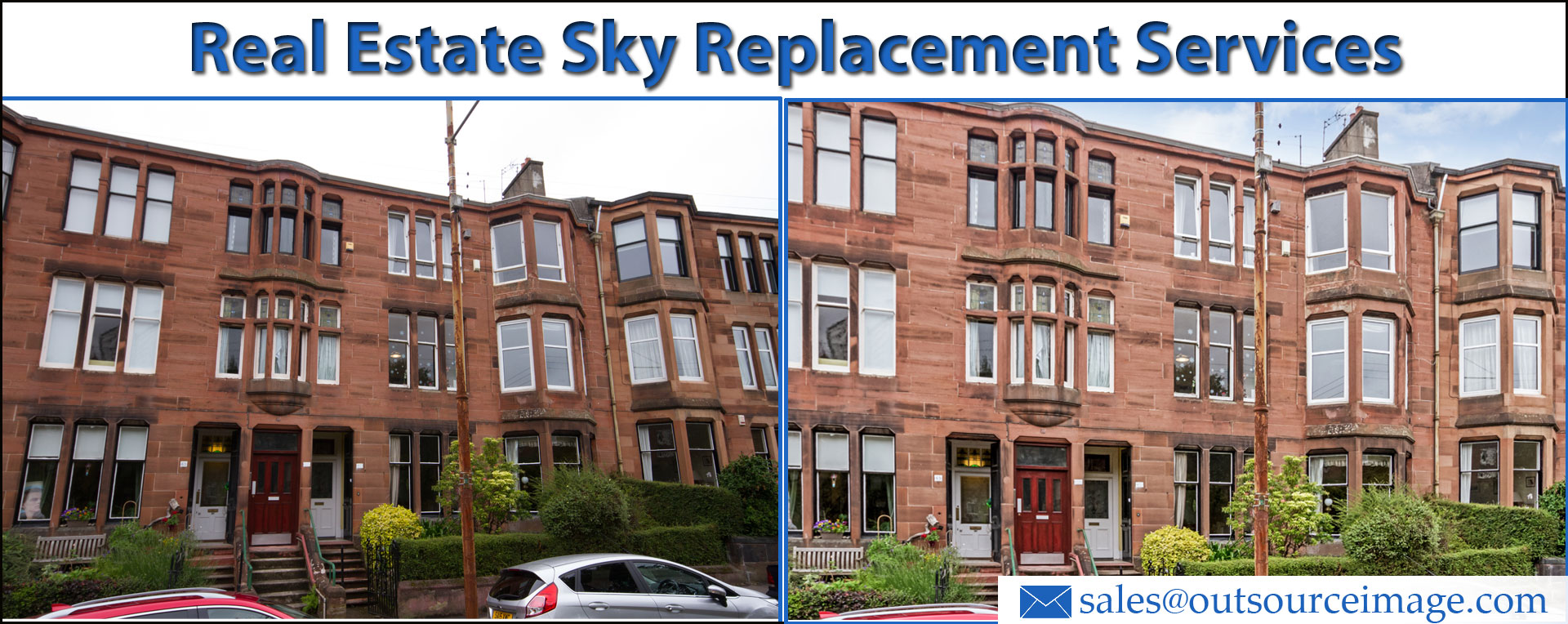 Real Estate Sky Replacement Services | Photoshop Real Estate Photo Sky Change Services